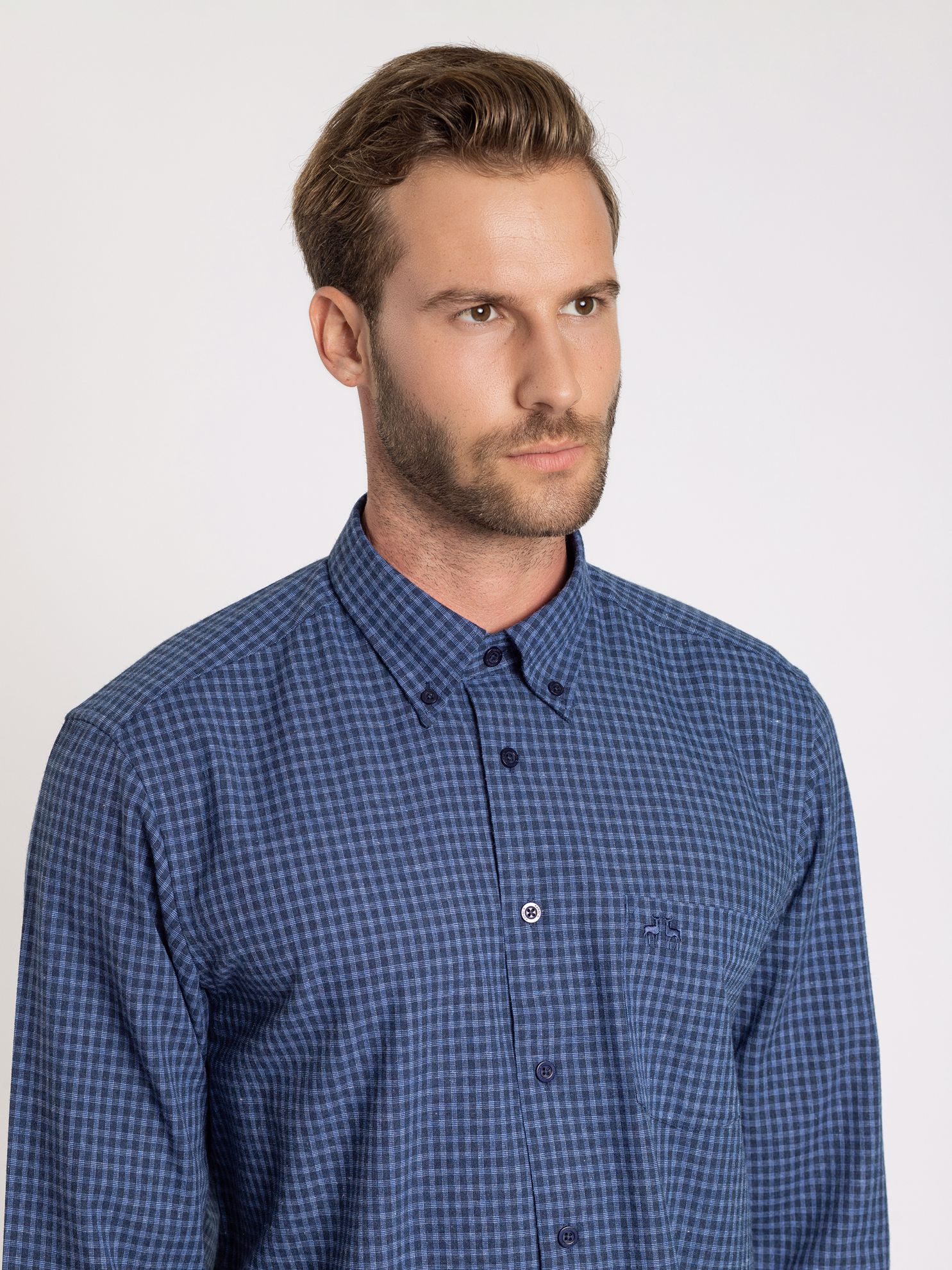 Karaca Erkek Regular Fıt Gömlek-İndigo. ürün görseli