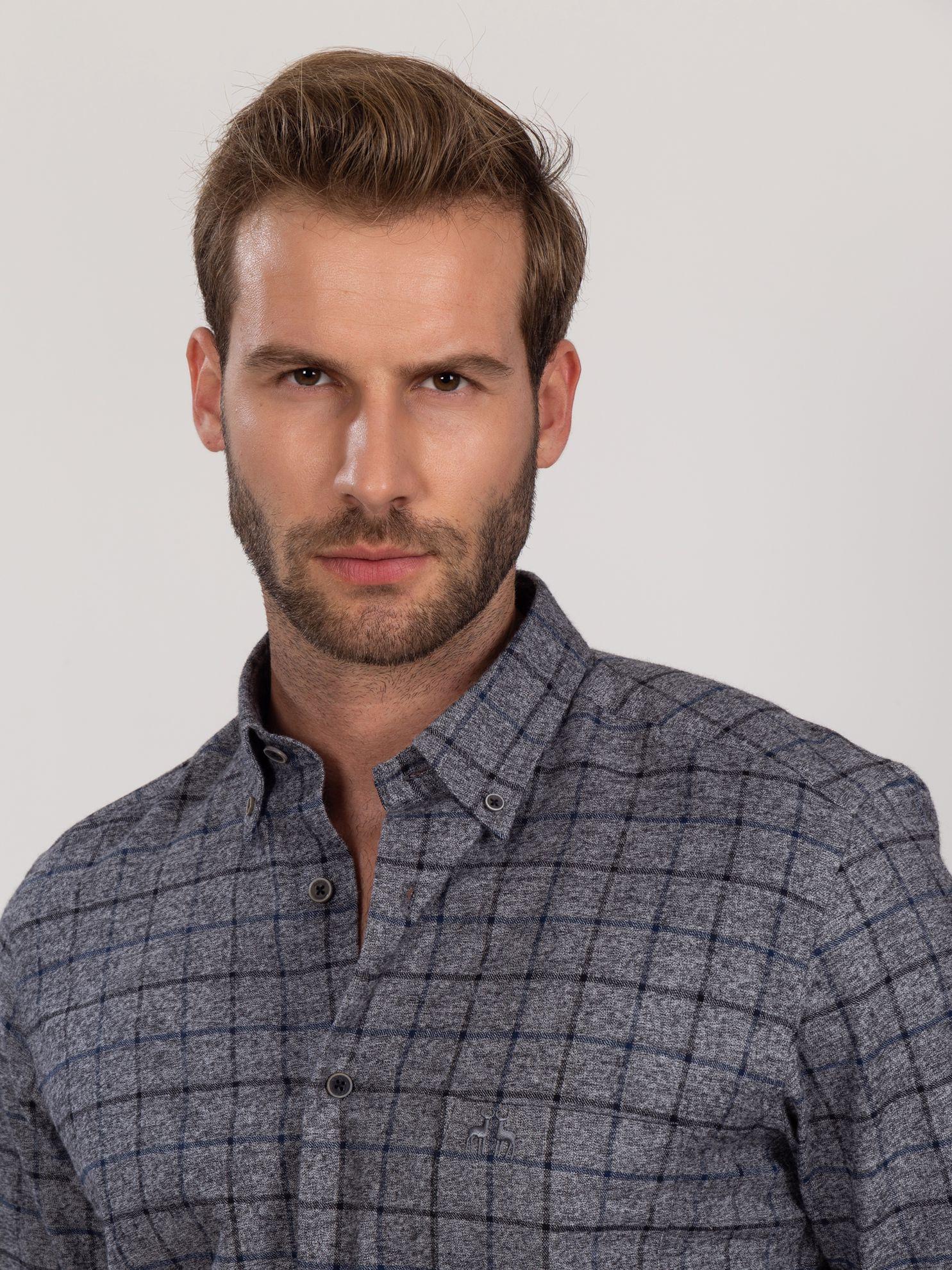 Karaca Erkek Regular Fıt Gömlek-Gri. ürün görseli