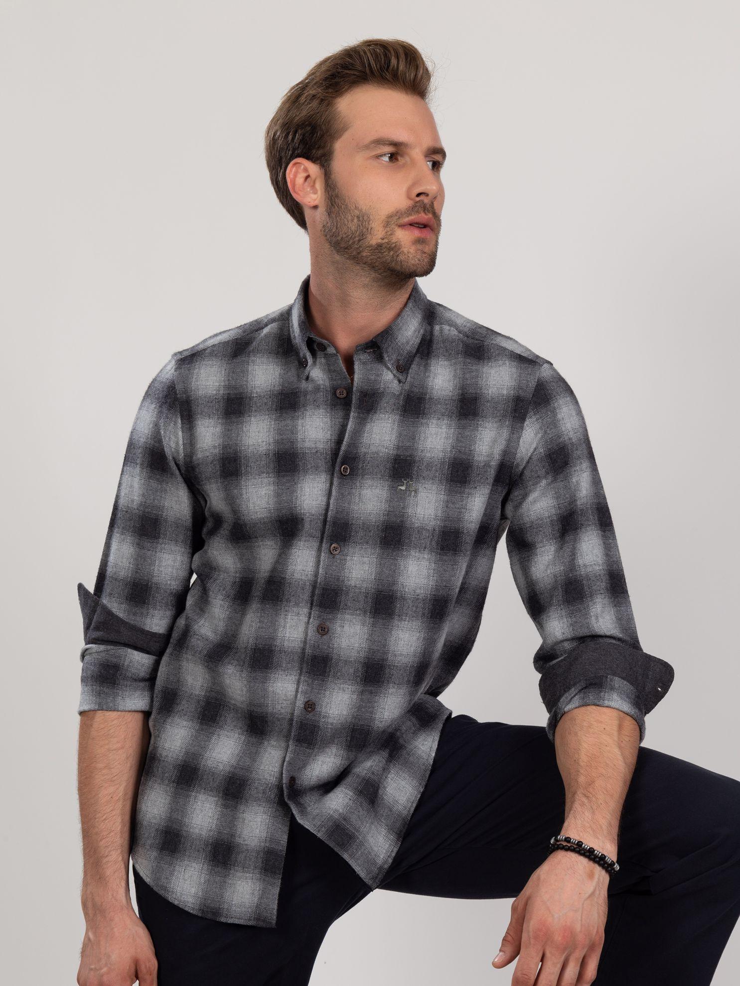 Karaca Erkek Slım Fıt Gömlek-Antrasit. ürün görseli