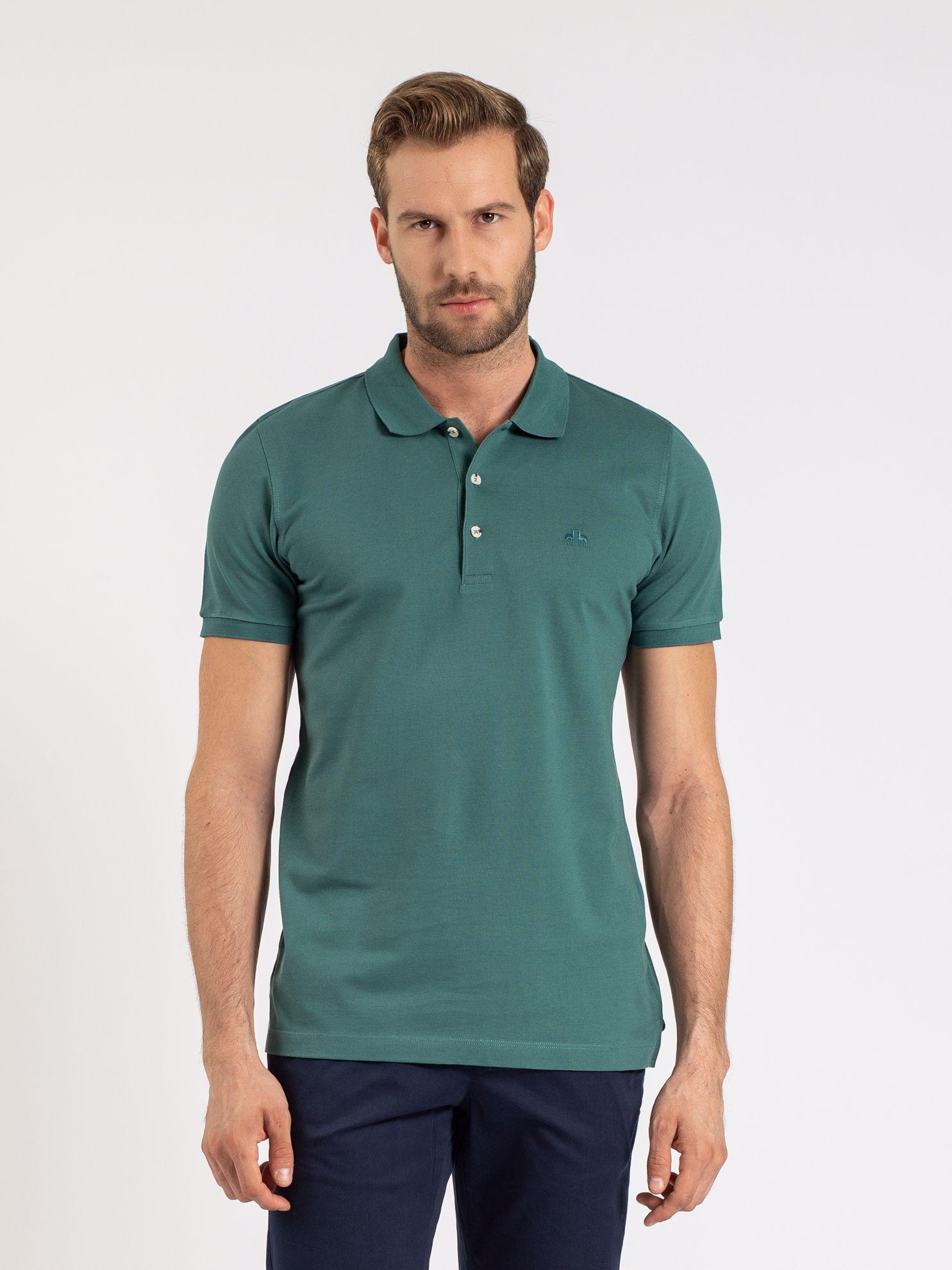 Karaca Erkek Slım Fıt Polo Yaka Tişört-Koyu Yeşil. ürün görseli