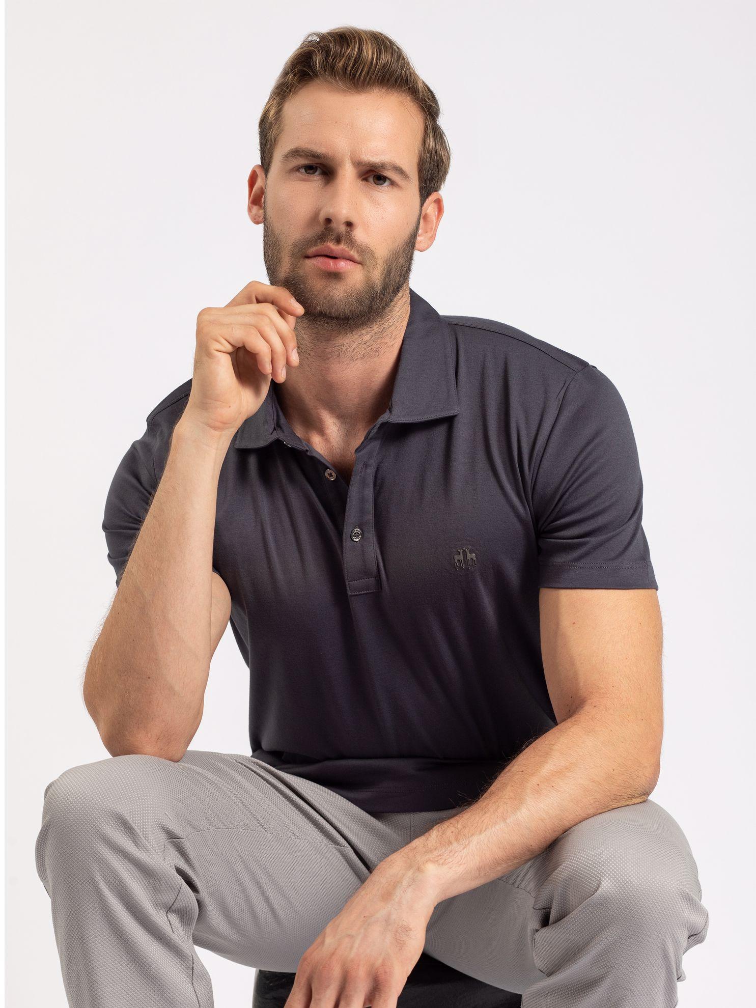 Karaca Erkek Slım Fıt Polo Yaka Tişört-Antrasit. ürün görseli