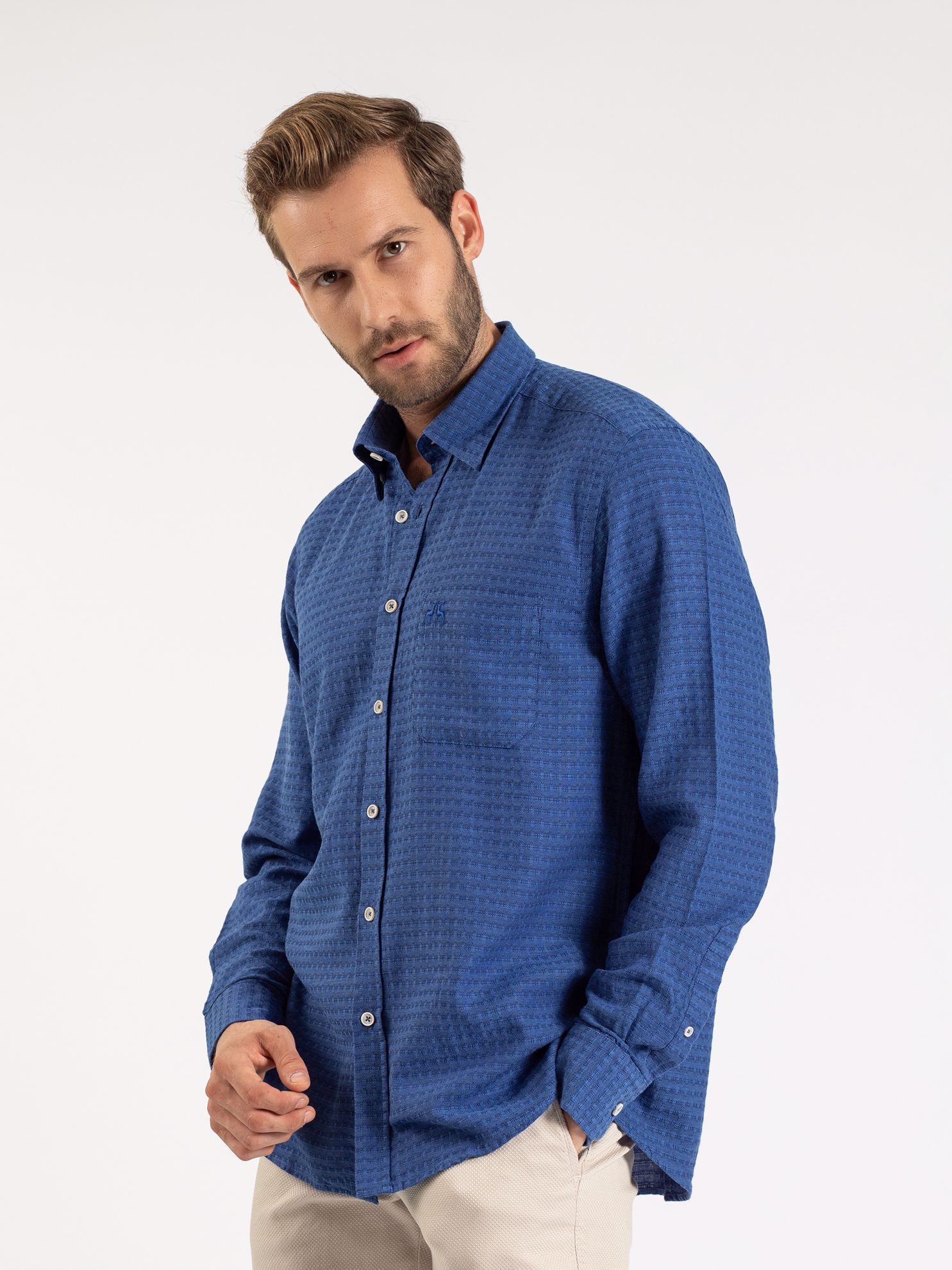 Karaca Erkek Regular Fıt Gömlek-Saks Mavi. ürün görseli