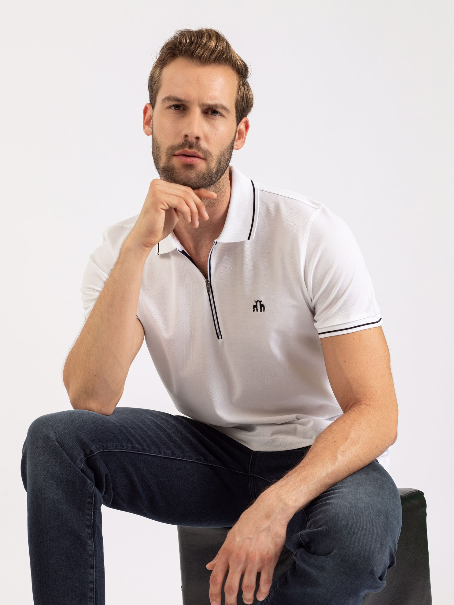 Picture of Karaca Erkek Slım Fıt Polo Yaka Tişört-Beyaz