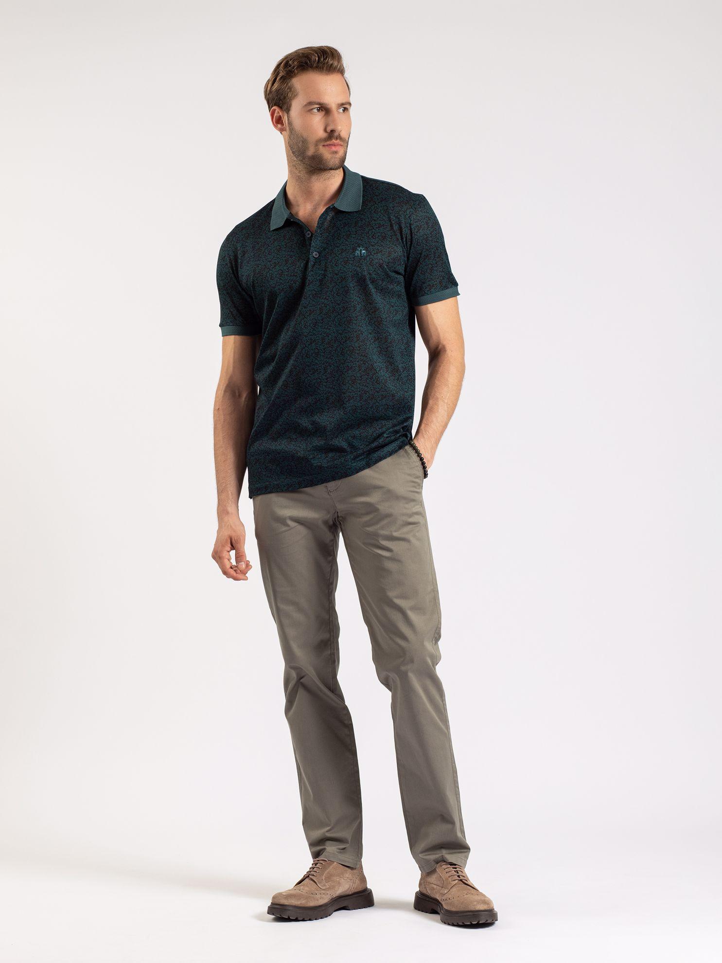 Karaca Erkek Slım Fıt Polo Yaka Tişört-Petrol. ürün görseli