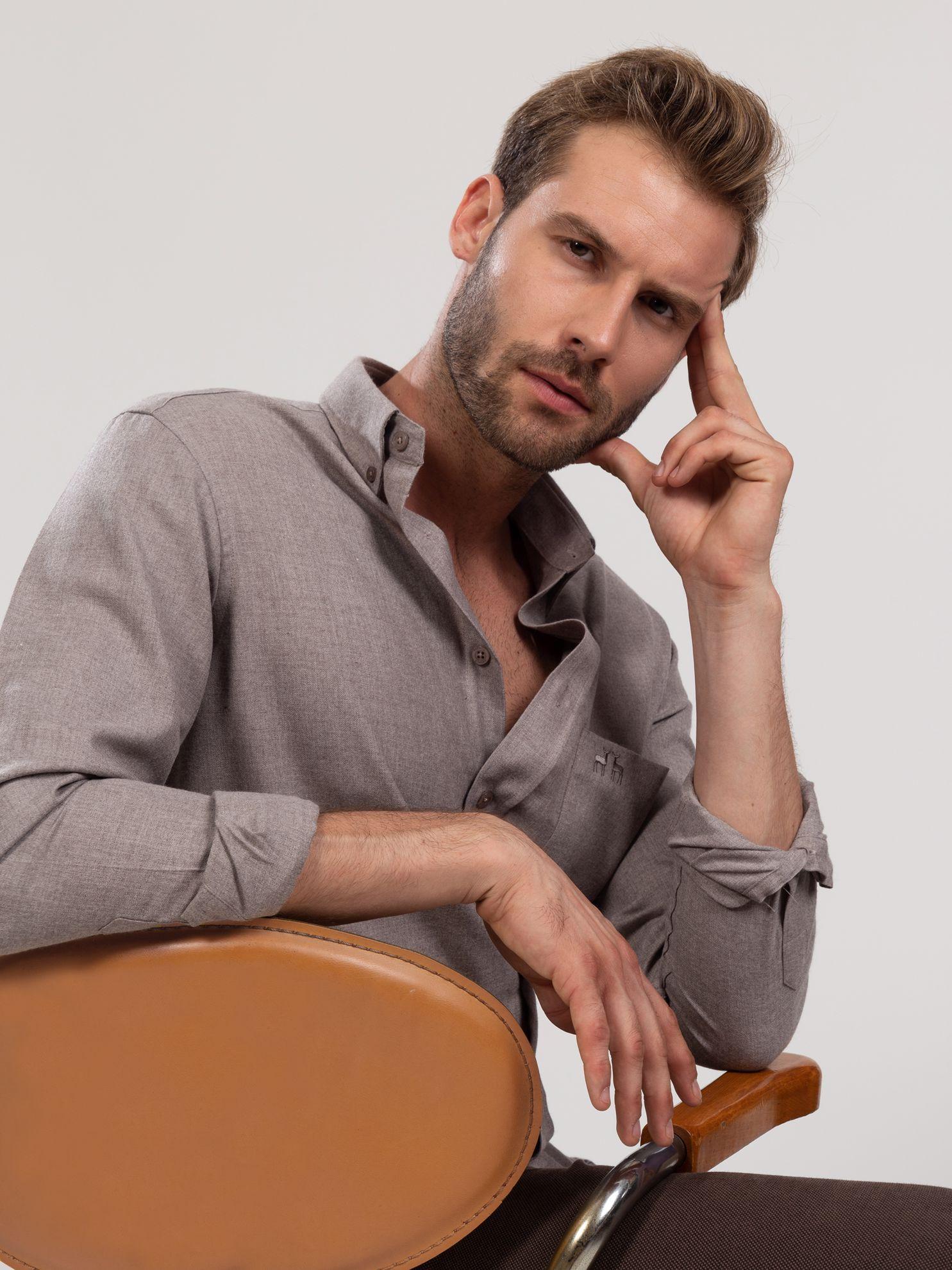 Picture of Karaca Erkek Regular Fıt Gömlek-Açık Kahverengi