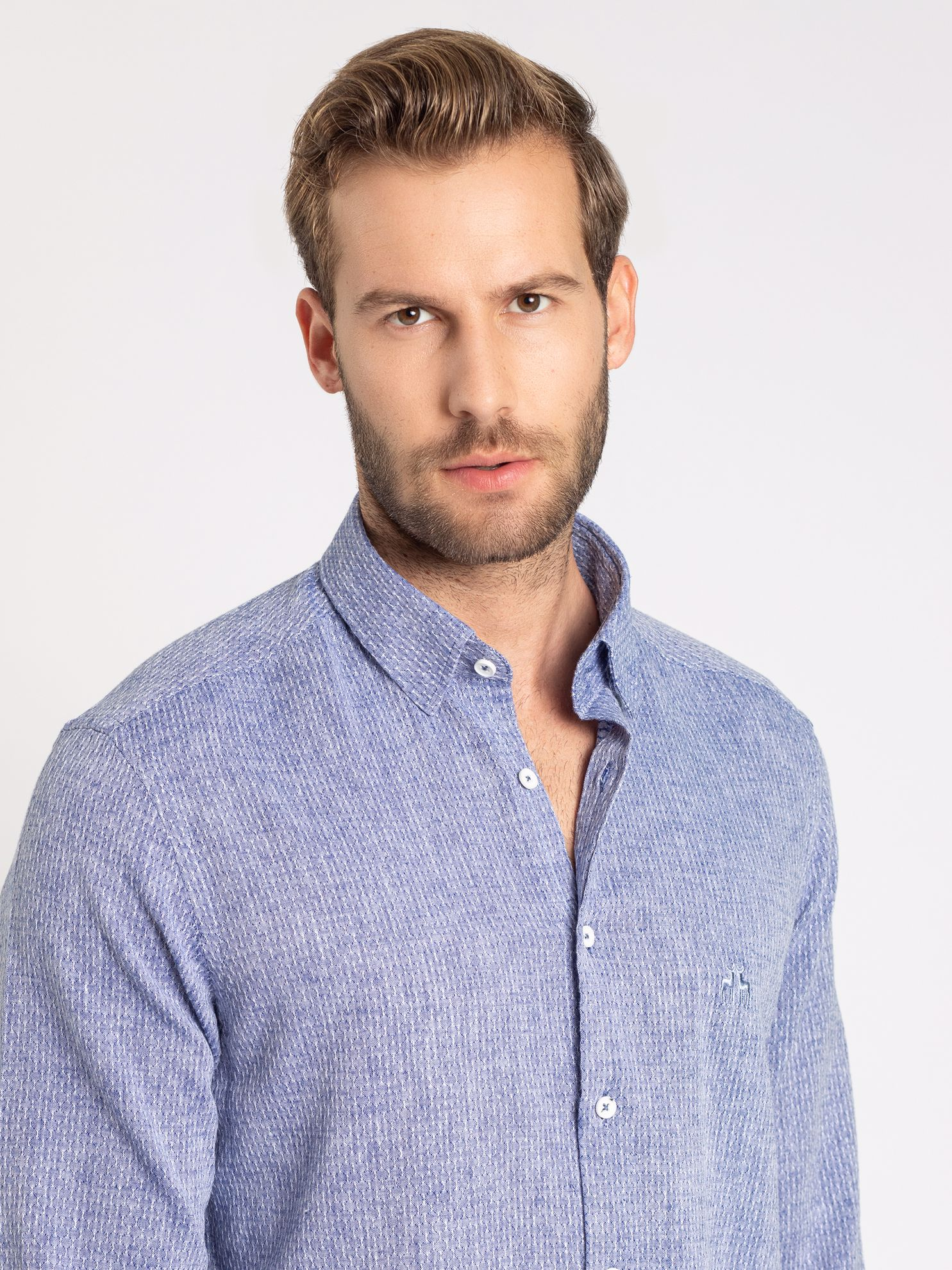 Karaca Erkek Slım Fıt Gömlek-Mavi. ürün görseli